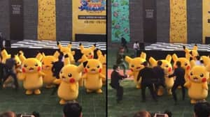 Dancing Pikachu Hilariously Dragged Offstage As He Deflates