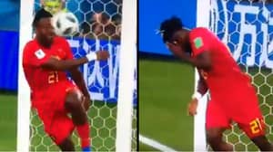 Belgium's Michy Batshuayi Got Whacked In The Face Celebrating Goal At World Cup Against England