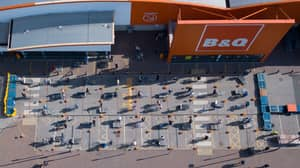 Aerial Photos Show Shoppers Queuing Up Outside B&Q After It Reopens