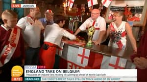 'GMB' Presenter Causes Controversy By Using German Flag As Beer Rag