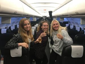 Three Women Get Upgraded To Business Class Because There's No One On Their Flight