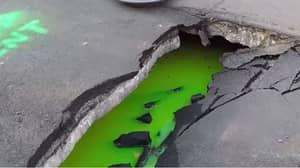 Huge Sinkhole Oozes Bright Green Liquid In Canada Street