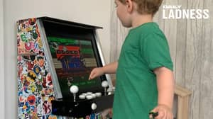 Dad Builds Incredible DIY Arcade Machine For His Son So He Can Play 'Old School Games'