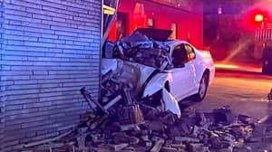 Car Ploughs Into We Buy Any Car Building