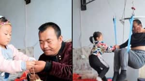 Girl, 6, Takes Care Of Paralysed Father Every Day After Mother Abandoned Them