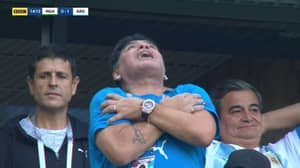 Diego Maradona Went Absolutely Wild From The Stands After Lionel Messi's Goal