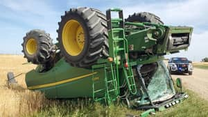 A Drunk Man Went Joyriding In Combine Harvester Then Flipped It