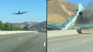 WWII Era Nazi Warplane Crashes On Freeway In California