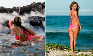 This Woman Nonchalantly Surfs Away From Molten Lava Spewing From A Volcano