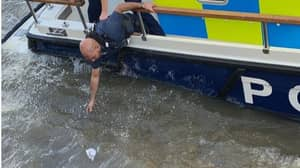 Police Pull Bag Filled With Drugs Out Of River Thames