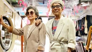 Elderly Couple With Laundry Business Go Viral After Dressing Up In Clothes Left By Customers