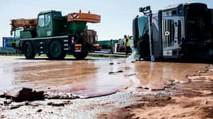 Lorry Overturns In Poland Spilling Melted Chocolate Over Highway