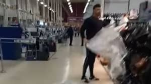 Shopper Filmed Ripping Plastic Sheets Off 'Non-Essential' Items In Welsh Supermarket