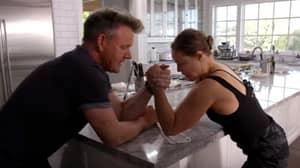 Gordon Ramsay And Ronda Rousey Arm Wrestle On Kitchen Counter