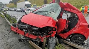 Police Post Picture Of Mangled Car As Warning To Drivers In Heavy Rain