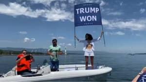Osama Bin Laden's Niece Gatecrashes Biden-Putin Summit With 'Trump Won' Flag