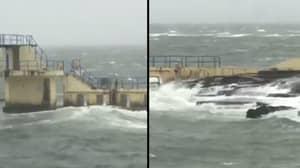 Man Filmed Swimming In Rough Sea During Hurricane Ophelia