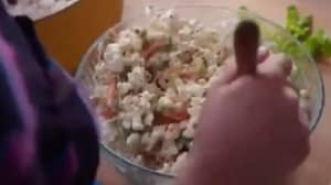 People Are Very Angry About This Woman's Popcorn Salad