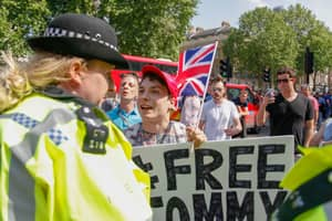 Demonstrator Gather At Downing Street Calling For Release Of Tommy Robinson