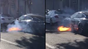Actor Films Moment Tesla Catches Fire While Waiting In Traffic