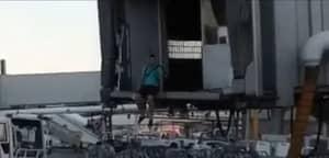 Dumb Passenger Jumps Off Boarding Bridge And Runs Across Tarmac To Catch Plane