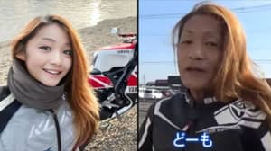 Young Female Japanese Motorbiker Revealed To Be 50-Year-Old Man