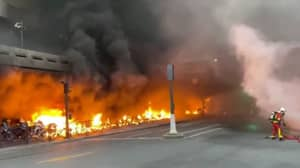 Huge Fire Breaks Out At Paris Train Station