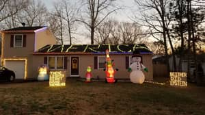Homeowner Puts Up Christmas Lights With Controversial Message About Jeffrey Epstein