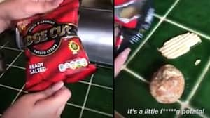 Hilarious Moment Woman Finds Potato In Packet Of Crisps