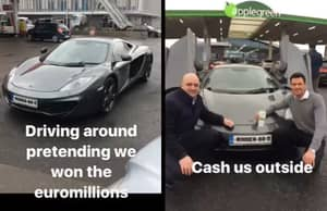Two Lads Convince Everyone They Won The Lottery By Driving Around In A Sports Car