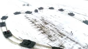Russian Lieutenant Proposes To Girlfriend With 16 Tanks Arranged Into Heart Shape