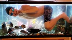Teen Who 'Misses Swimming' During Pool's Coronavirus Closure Takes Dip In Dad's Fish Tank
