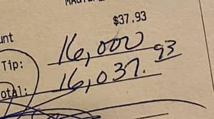 Customer Leaves Tip 400 Times Bigger Than Price Of Bill