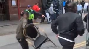 Manchester And Leeds Fans Seen 'Scrapping' In Street Ahead Of Today's Clash