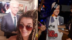 Phillip Schofield Super Fan Takes Cardboard Cut-Out Partying In Magaluf
