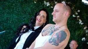 Couple Swap Wedding Roles As Groom Walks Down Aisle In Dress To Bride In Tuxedo