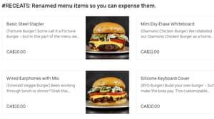Burger Restaurant Renames Menu So You Can Expense Items