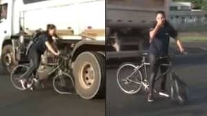 Woman Almost Crushed By Lorry During TV News Report On Dangerous Junction
