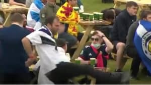 Scottish Football Fan Goes To Kick Table And Completely Misses After Losing Game