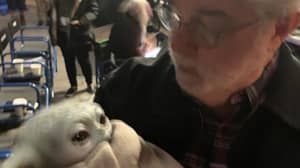 George Lucas Holds Baby Yoda On Set Of Star Wars: The Mandalorian