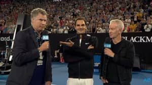 Roger Federer Gets Interviewed By Ron Burgundy At The Australian Open