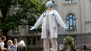 Statue Honouring Healthcare Workers Fighting Coronavirus Unveiled In Latvia