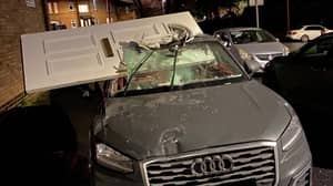 Audi Driver Smashes Into House And Flees With Door In Windscreen