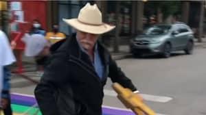 'Homophobic Cowboy' Starts Attacking Pride Crosswalk And Gets Arrested