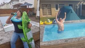 Pissed Up Dad Digs Hole In Garden And Then Turns It Into Swimming Pool