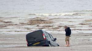 Man Helplessly Watches Van Sink Into Sea After Driving Onto Beach