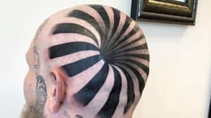 Optical Illusion Tattoo Looks Like A Hole In Man's Bald Head