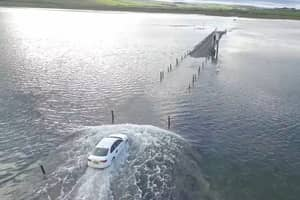 Uber Driver Races The Tide And Ends Up Stranded In Middle Of The Sea