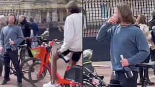Two Men Spotted Preparing To 'Celebrate' Death Of Prince Philip Outside Buckingham Palace