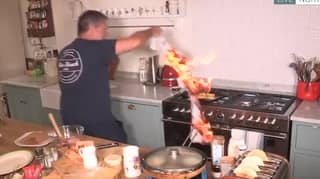 John Torode Sets Tea Towel On Fire While Cooking On This Morning